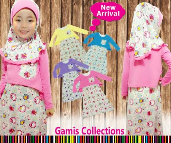 setelan baju muslim anak perempuan pink polkadot untuk lebaran umur 2 3 4 5 6 7 tahun