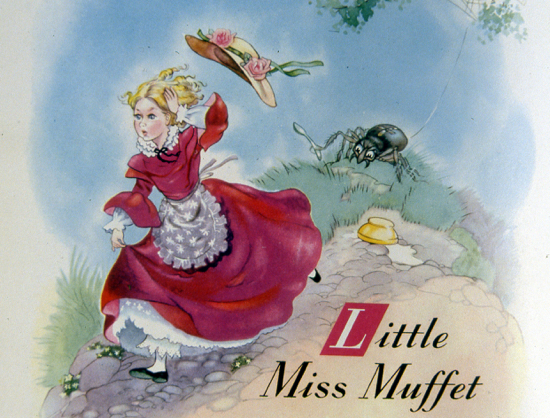 Painting of Little Miss Muffet from Moffats Farm, Moffats Lane Image from the NMLHS