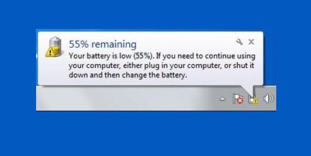 Tanda Seru pada simbol Baterai di Windows 10