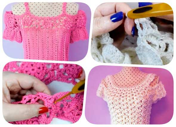 tops tejidos, crochet, jerséis manga hombro al aire, patrones crochet