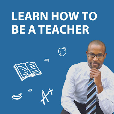 Image of a young man smiling confidenly at the camera.  illustrated images of teaching like a book, A+ grade.  Text: Learn how to be a teacher