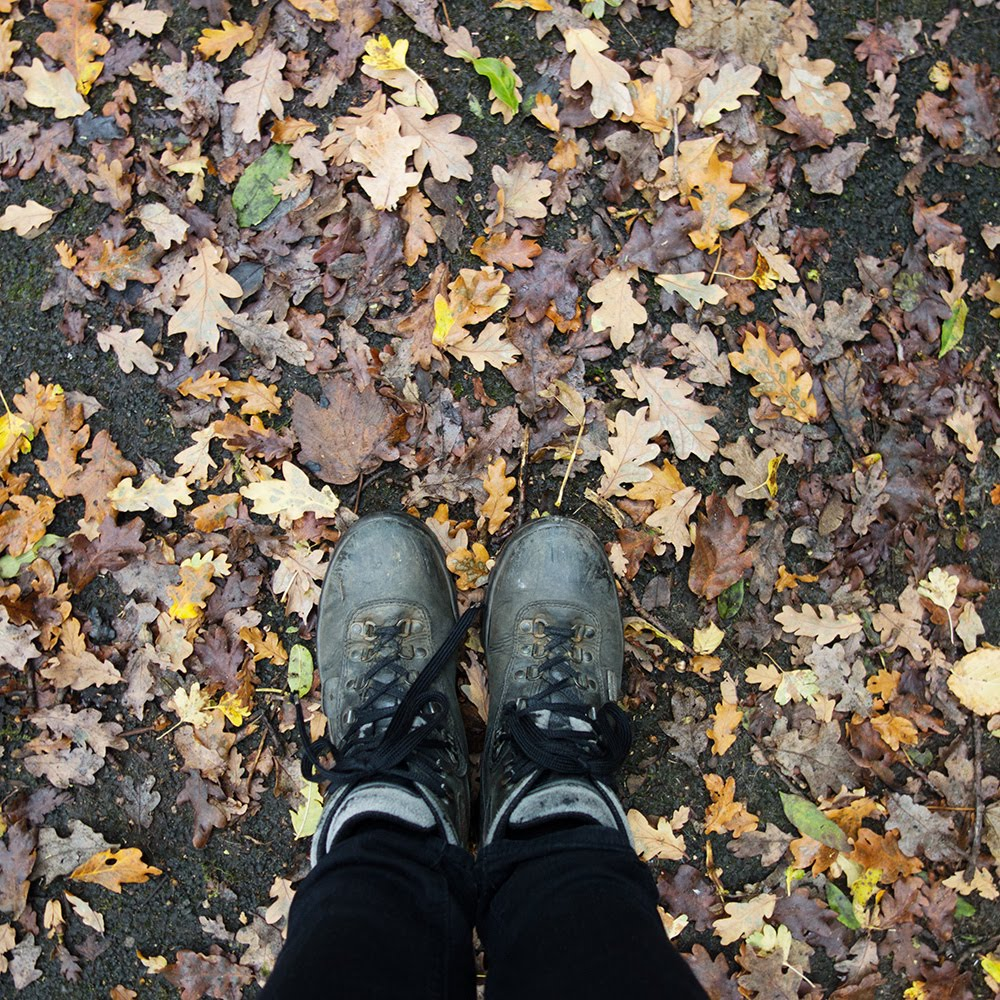 feet in leaves autumn