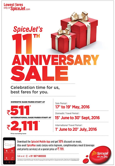SpiceJet's 11th Anniversary Sale | Best fares for you | May 2016 discount offers | Festival offers