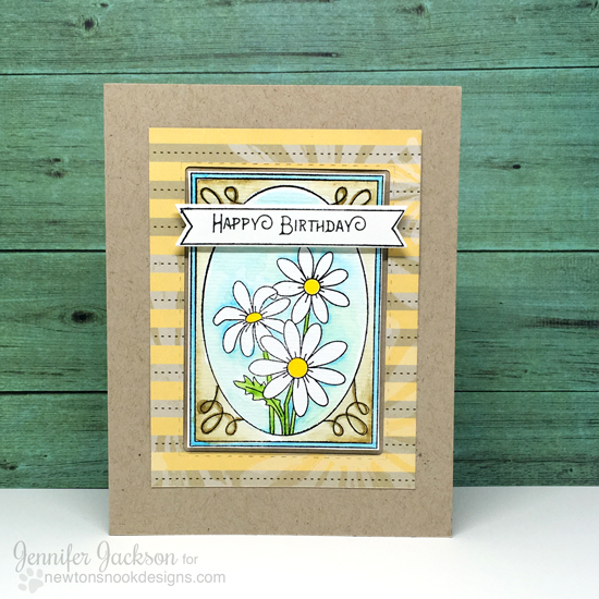 Daisy Birthday Card by Jennifer Jackson | Garden Starter Stamp set by Newton's Nook Designs #newtonsnook