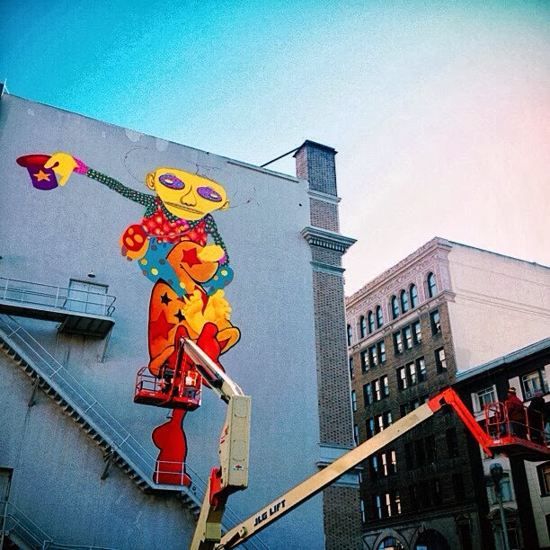 Work In Progress By Brazilian Street Artists Os Gemeos At Warfield Theatre In San Francisco. 2