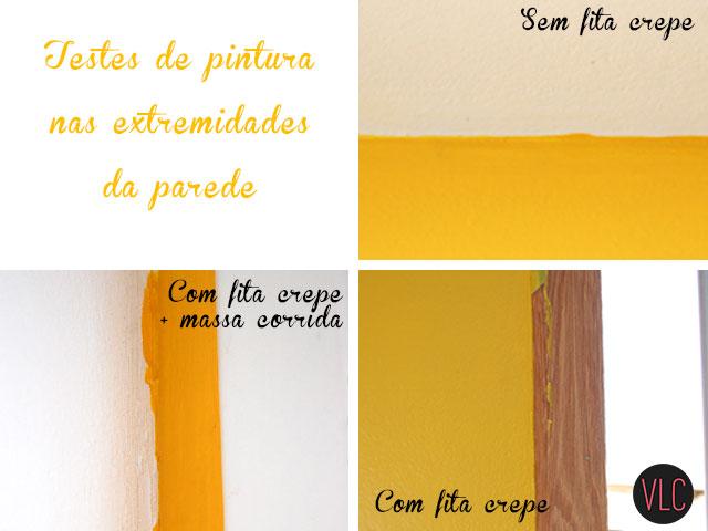 Testes de pintura na parede amarela