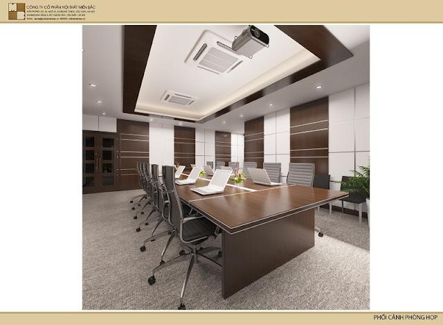 Trong không gian họp rộng lớn này, việc chọn một chiếc bàn veneer phòng họp vừa dài, vừa rộng sẽ tạo cho căn phòng sự chuyên nghiệp.