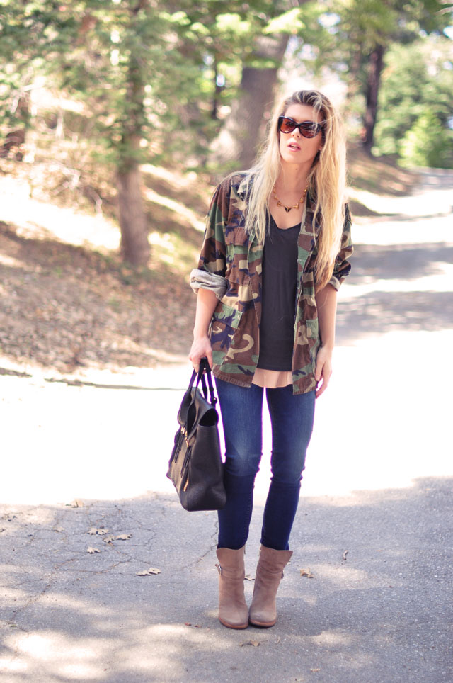 casual outfit, jeans and camo army jacket