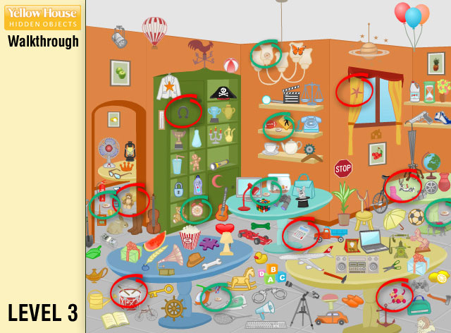 Yellow House Hidden Objects Level 3