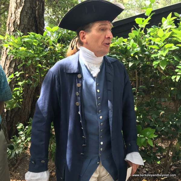 costumed guide at Middleton Place plantation in Charleston, South Carolina