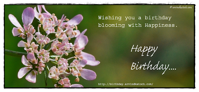 Happiness, Blooming, Birthday Card,