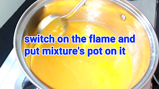image of putting mixture's pot on flame