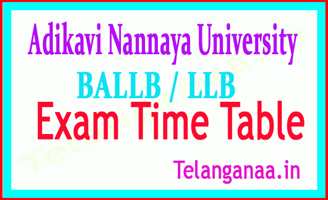 Adikavi Nannaya University BALLB / LLB  Exam Time Table