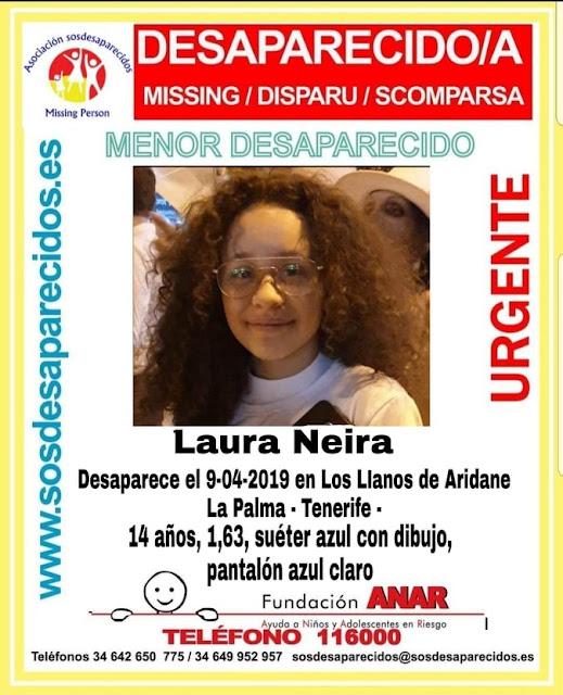 Niña 14 años desaparecida en La Palma, Laura Neira