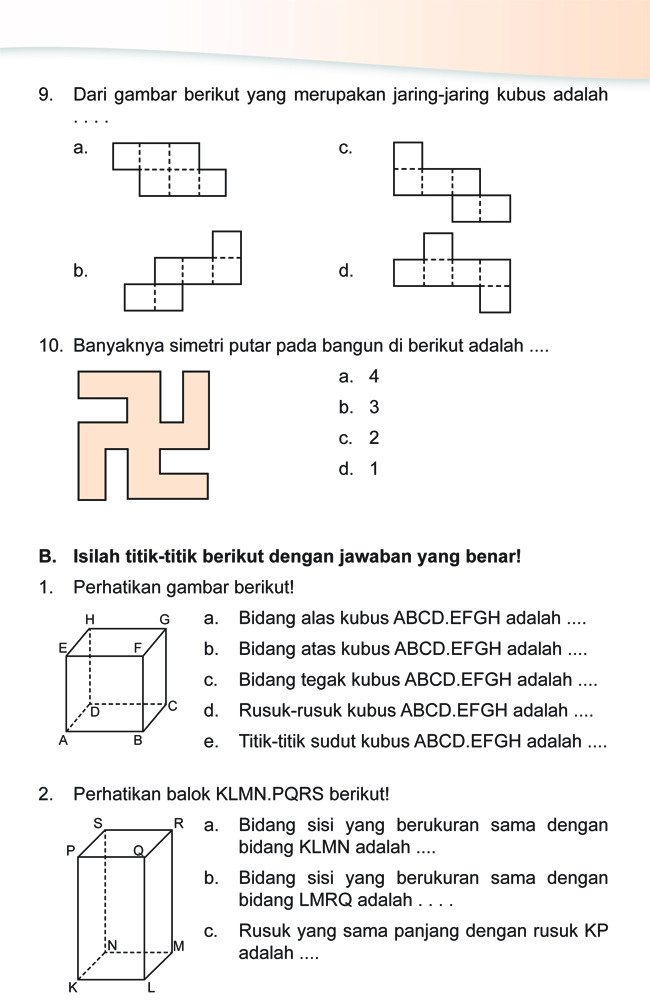 Kumpulan Soal Matematika: Soal Ulangan Harian Matematika Kelas 4 SD \u0026quot;Sifat Bangun Ruang