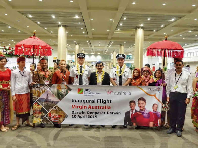 131 Penumpang Ikut Inaugural Flight Virgin Australia dari Darwin ke Bali