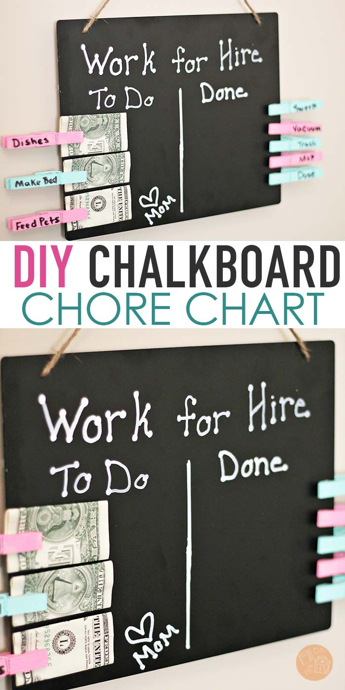 Help kids earn money for chores with a super easy DIY chore chart! This cute chalkboard chore chart gives kids the chance to earn money for chores. Includes a how to video! #chorechart #chores #DIY #chalkboard