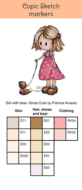 Copic color combination on girl with bear from kindacutebypatricia.com