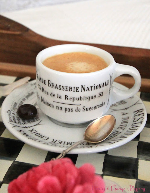 A French breakfast in bed with a pain au chocolat and espresso! Pillivuyt espresso cup with a coffee bean!