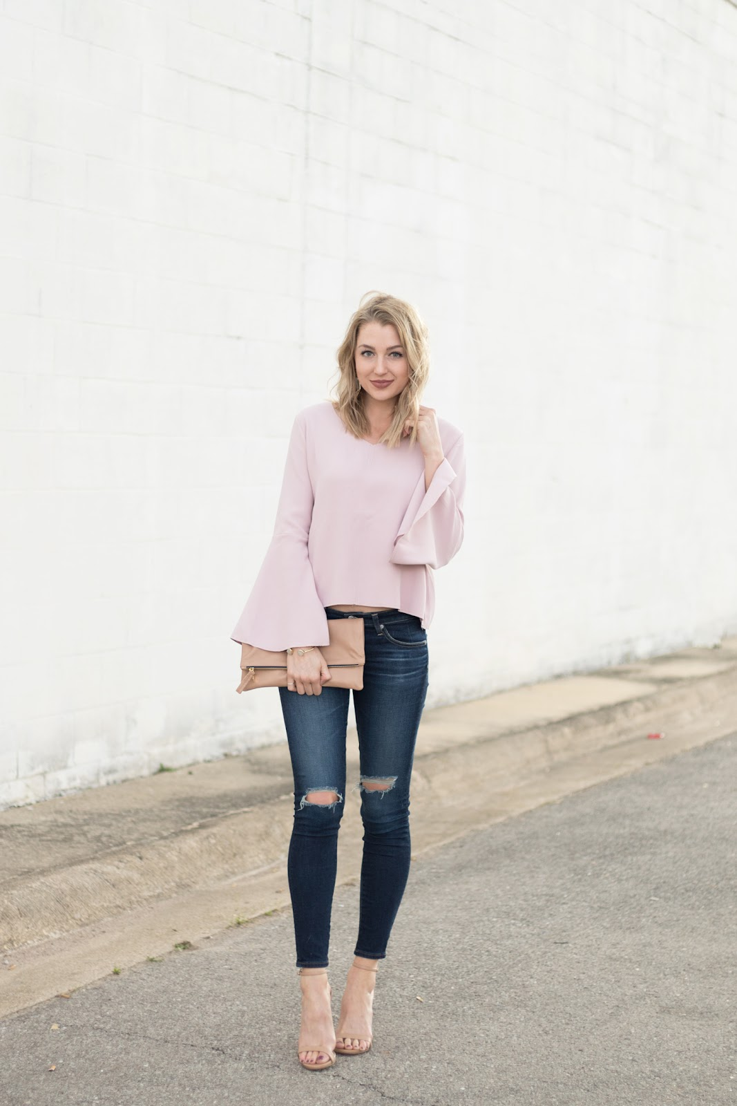 Cute bell sleeve top with jeans