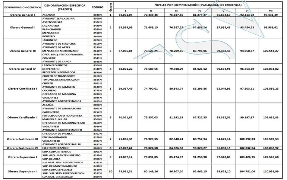 Tabulador obreros mppe clasificacion 1 de junio 2017 amor mayor - Presupuesto para pintar ...
