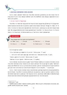 9. Sınıf Kuranı Kerim Ders Kitabı Cevapları Tutku Yayınları Sayfa 10