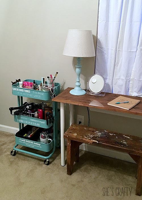 teen girl room, blue rolling cart, IKEA raskog, teen room organization with daily affirmations