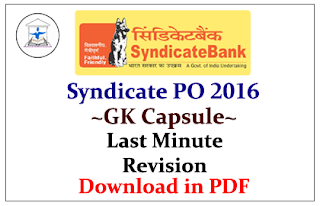 Syndicate PO 2016- GK Capsule for Last Minute Revision