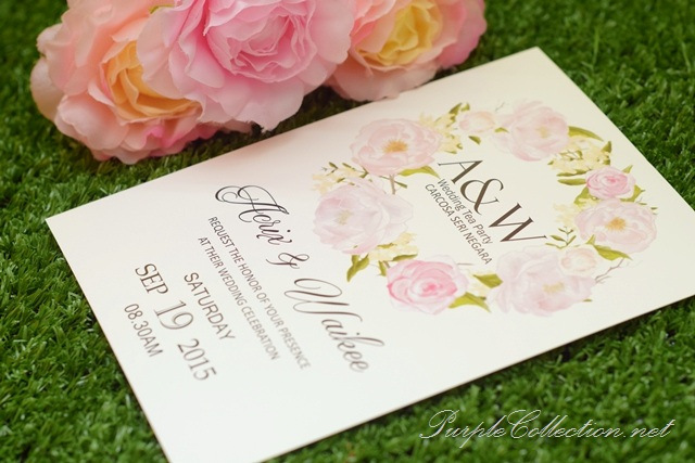 wedding invitation card printing, malaysia, personalised, personalized, handmade, large format printing, cetak, setapak, taman melawati, wangsa maju, bangsar, mont kiara, delivery, online, purchase, buy, carcosa seri negara, tea party invitation, peonies, peony, flower, floral, wreath, pink, white, art card 260g, congratulations, september 19, 2015, australia, modern, roses, singapore, express, ceremony, program fans, program cards, wedding day, selangor, international, worldwide, sydney, melbourne, NSW, adelaide, penang, ipoh, perak, kampar, tapah, bentong, pahang, kuantan, johor bahru, melaka, seremban