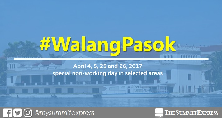 Palace declares special non-working holiday on April 4, 5, 25, 26 2017 in selected areas