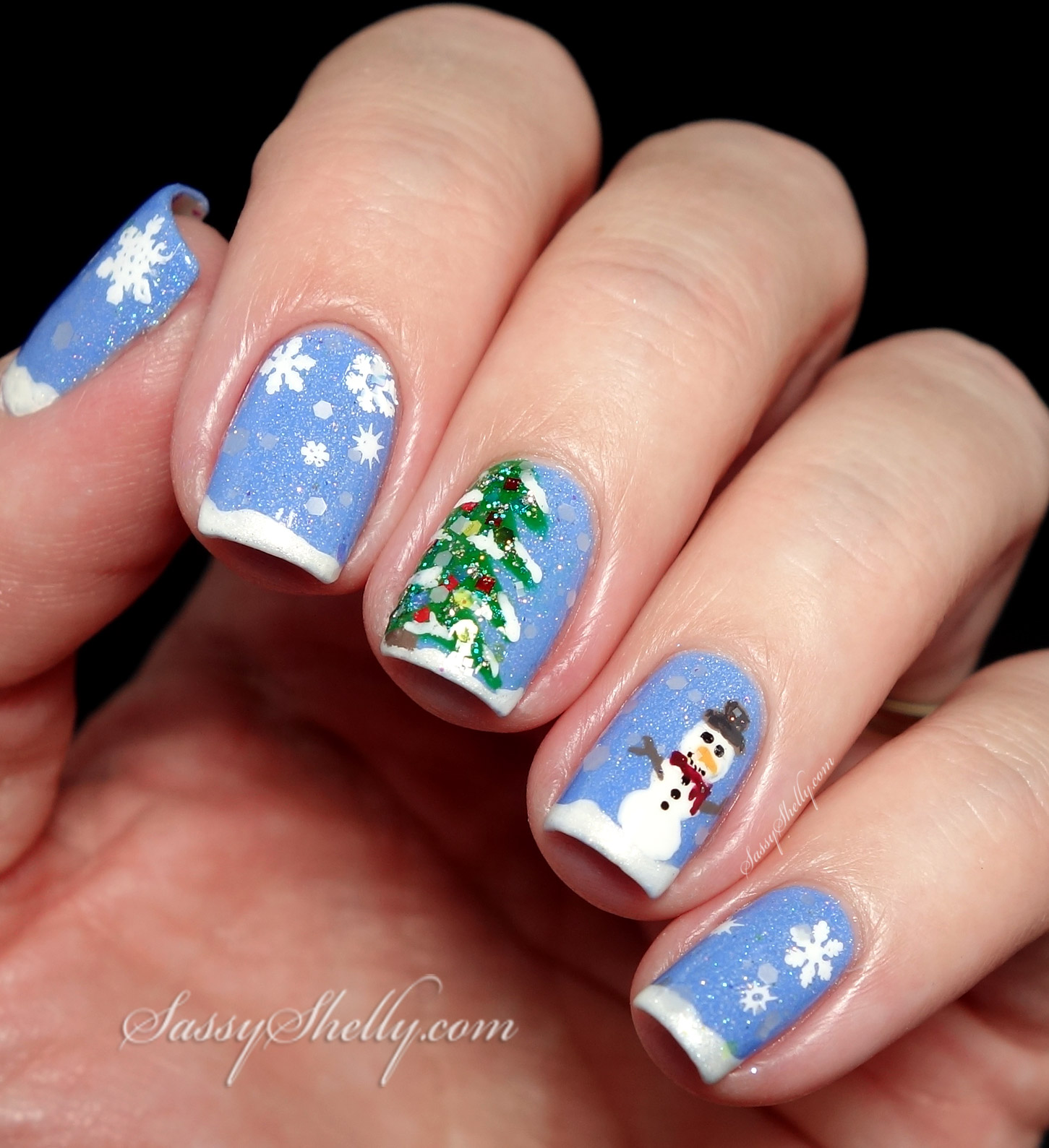 Christmas Nails Arts: Christmas Tree & Snowman Nail Art With