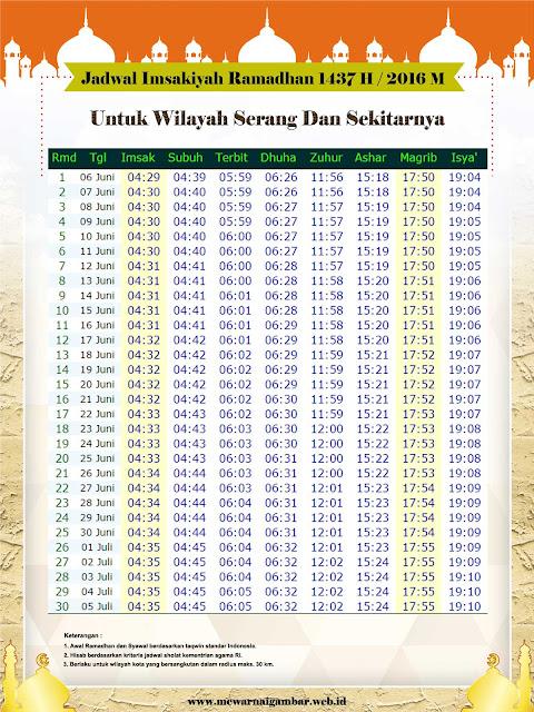 Jadwal Imsakiyah Ramadhan Serang  Tahun 2016 M 1437 H