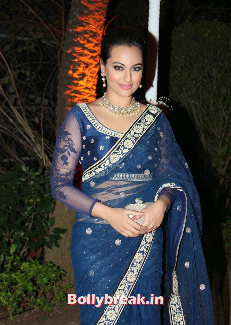 , Sonakshi Sinha in Blue Saree at Ahana Deol Reception