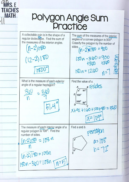 *free*  angles in polygons practice page for geometry interactive notebooks