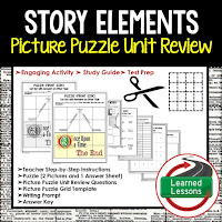English, Story Elements, Picture Puzzle, Test Prep, Test Review, Study Guide