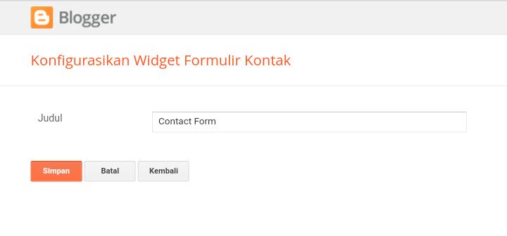 Membuat Halaman Formulir Kontak di Blog
