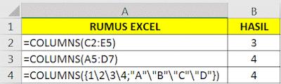 Contoh Fungsi COLUMNS Microsoft Excel
