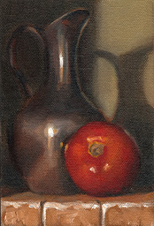 Oil painting of a long-necked pewter jug beside a red tomato.