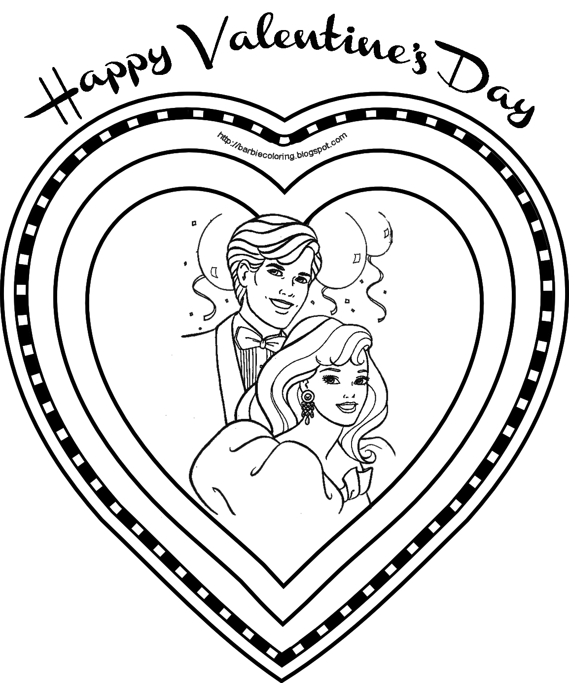 BARBIE AND KEN VALENTINE S DAY COLORING BOOK PAGE