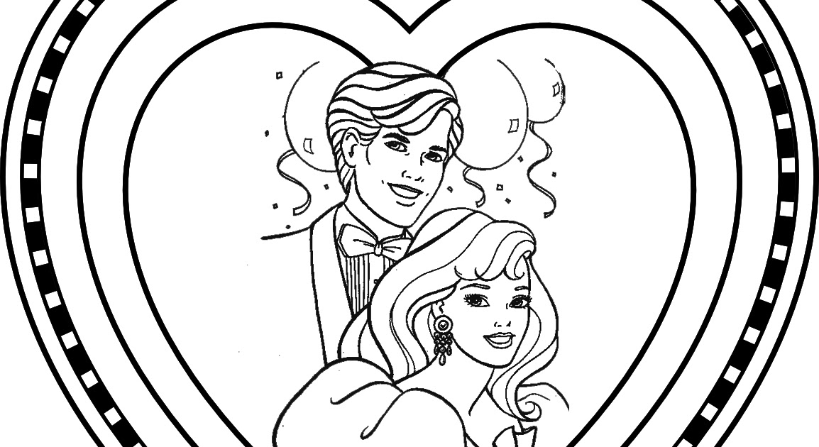 BARBIE COLORING PAGES: BARBIE AND KEN VALENTINE'S DAY