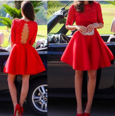 A-line Bateau Short/Mini Chiffon Lace Red Homecoming Dresses For Teens #SP8309