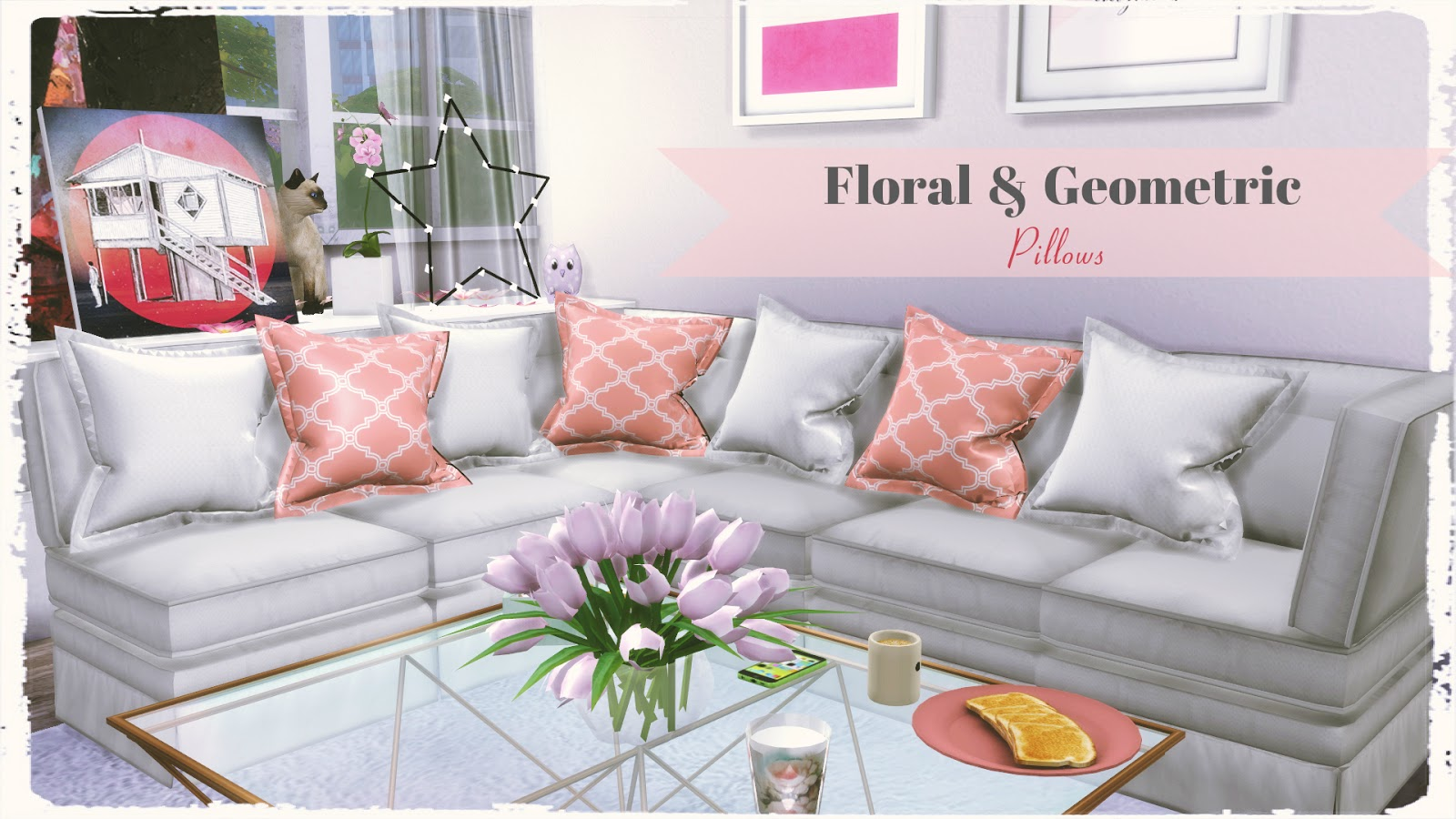 Sims 4 Floral Amp Geometric Pillows Dinha