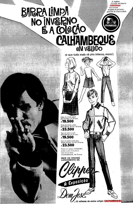 Propaganda antiga da coleção Calhambeque liderada pelo cantor Roberto Carlos na época da Jovem Guarda