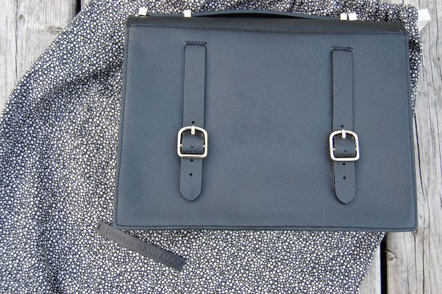 Black saffiano leather Loeffler Randall Rider satchel