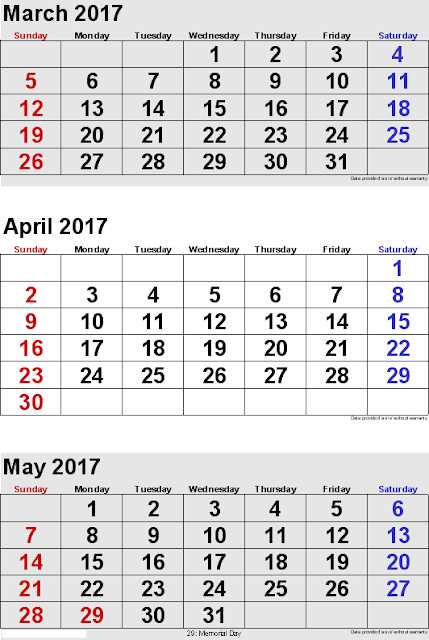 March April May 2017 3 months Printable Calendar 2017 | March April May 2017 3 months Calendar Template 2017
