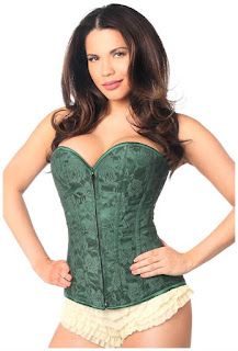 Lavish Dark Green Lace Overbust Corset w/Zipper