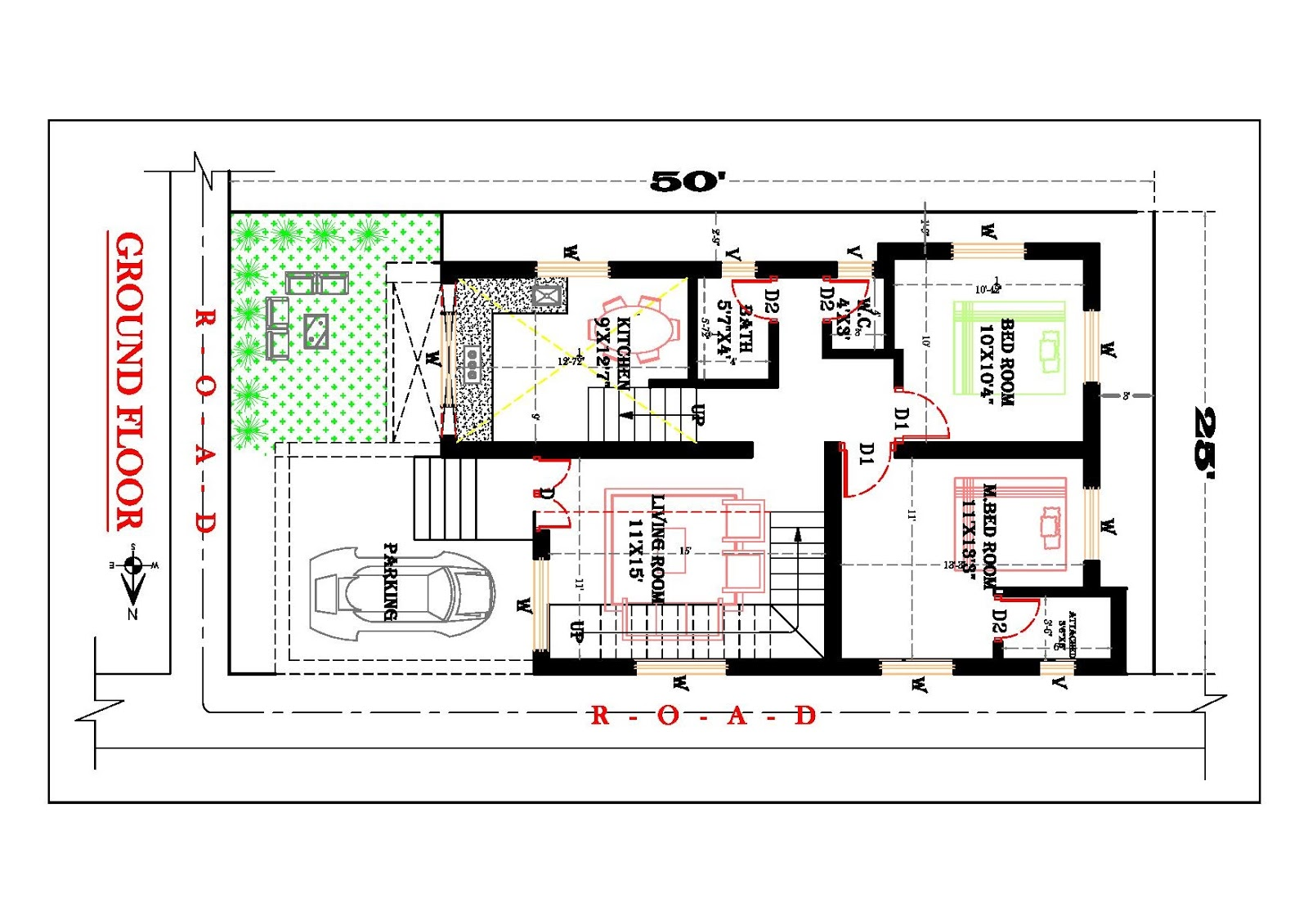 25x50 feet house plan for Create house design 3d