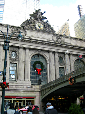 Outside of Grand Central during Christmas