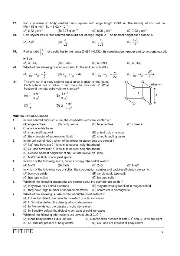 QUANTUM OF CHEMISTRY @ JODHPUR: SOLID STATE mcq