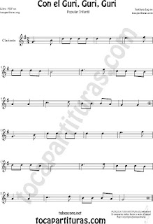 Clarinete Partitura de Con el Guri Guri Guri Sheet Music for Clarinet Music Score
